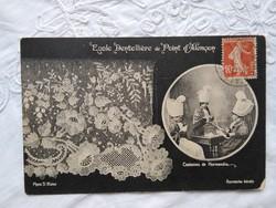 Antik francia fotólap/képeslap Alencon-i csipke készítők, Normandia, folklór, népművészet 1911