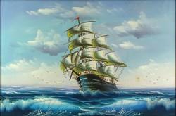 1D950 XX. századi festő : Fregatt a tengeren