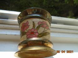 Rekeszzománc  kézzel készült irizáló virágmintákkal tömör bronz fedeles fűszertartó, tároló