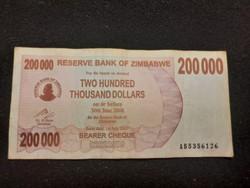 Zimbabwe 200000 Dollár 2008 Nagyon szép