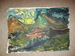 Akvarell festmény, ismeretlen elkövető, méret jelezve!