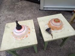 Fodros, üveg antik lámpabúra 2 db