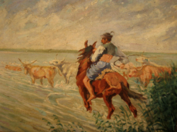 Quality at a gift price! Original picture of István kurlander: goulash herding on the Tisza, Kecskemét artists' colony