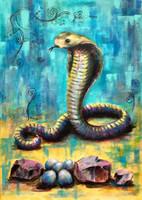 Kobra - akrilfestmény (70 x 50) - bevállalósaknak