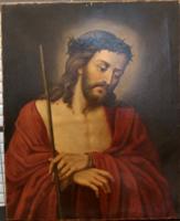 Jézus ábrázolás. Olaj, vászon festmény. Biedermeier festmény.