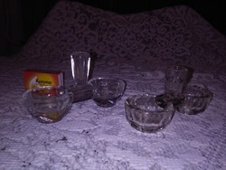 Régi üveg sótartó, fűszertartó - két darab együtt