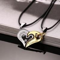 Egymáshoz illő- páros szív acél nyaklánc - ezüst-arany színű szett
