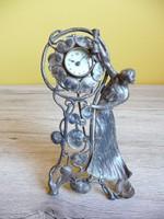 Szecessziós ezüstözött ón asztali óra