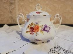 Eladó antik porcelán MZ Ausztria virág mintás cukor tartó!