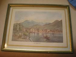 2db  Luganó + La Madonna Del  Sasso acélmetszet antik kép paszpart-ban ,üveglapos keretek egyben
