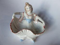 Régi, antik különleges, kézzel festett biedemeier hölgy porcelán figura, ékszer, pipere tartó
