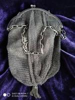Ezüst láncfonatos női szinházi táska (ritikül)