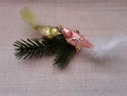 Régi üvegmadár alakú csipeszes  karácsonyfadísz 2-darab egyben