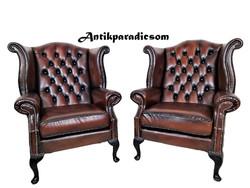 A323 Chesterfield Queen Anne konyak színű bőr fotelek