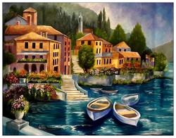 Való Ibolya Mediterrán táj c. NAGYMÉRETű festménye /70x90 cm/