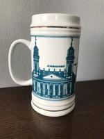 Hollóháza Debrecen sörös korsó porcelán