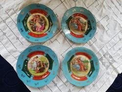 Eladó antik kézműves porcelán Altwin jelenetes különleges tányérok!