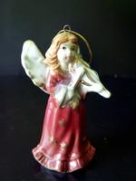Vintage angyal kerámia karácsonyfa dísz