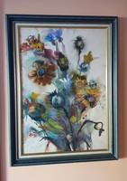 Natalia Bejenaru nagyméretű festmény, dekoratív üvegezett keretben 63x83 cm