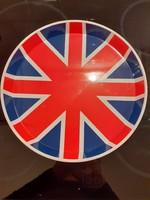 Kerek fém tálca Britt zászló minta kék piros angol
