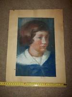 Koppány Erzsébet, 1955, pasztell festmény, portré, méret jelezve