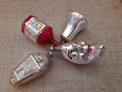 Régi üveg figurás karácsonyfadísz 4-darab
