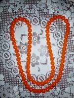 Narancssárga borostyán hatású, női nyaklánc
