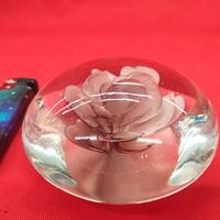 Muránói Rózsás Levél Nehezék  Méret 9 x 4, 5 cm