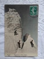 Antik svájci kézzel színezett fotólap/képeslap hegymászók a Mont-Blanc-on 1917