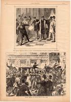 A tömeg megtámadja Tisza miniszter hintóját, metszet 1889, 16 x 23 cm, Magyarország, fametszet, dán
