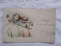 Antik/szecessziós, litho/litográfiás, ibolyás képeslap/üdvözlőlap, Húsvét, ibolya 1899-ből