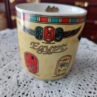 Egyiptomi eredeti kerámia csésze, bögre, jelzett, csodaszép mintázattal, hibátlan