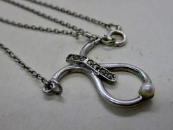 Csodás  régi markazitos gyöngyös ezüstnyakék