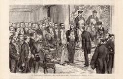 Ferenc József, művészház avatás, Bécs (2), metszet 1868, 14 x 22 cm, monarchia, császár, osztrák