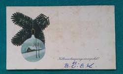Régi karácsonyi mini képeslap,üdvözlőkártya