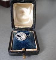 Régi gyöngy , markazit ezüst gyűrű