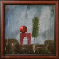 Győrfi András - 38 x 38 cm olaj, farost, keretezve