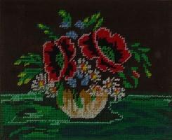 1D984 Régi pipacsos gobelin keretben 35 x 40 cm