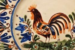 Erdélyi antik kakasos falitányér, paraszt tányér, tüneményes.