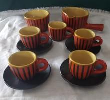 Tófej kerámia kávéskészlet 11db-os