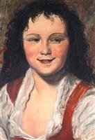Reneszánsz fiúportré - olajfestmény, keretezve