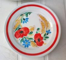 Piros pipacs mintás kézifestett  porcelán fali tányér, búzavirág és kalász