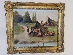 Táborozó cigányok - olaj karton festmény