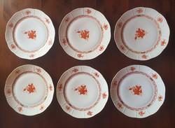 6 db Herendi lapos tányér, átmérő: 25,5 cm