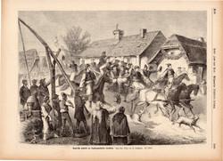 Magyar honvédek toborzása, bevonulása , metszet 1878, 23 x 32 cm, Magyarország, fametszet, katona