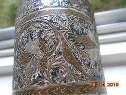 Antik Keleti ötvösmunka, niellós ezüst és réz berakásos  dísz váza