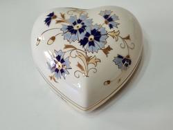 Zsolnay Búzavirág mintás Nagy szív alakú bonbonier
