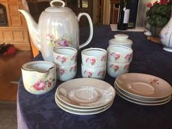 Walbrzych antik porcelán kávés, eozinos, 6 személyes