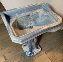 Antik vintage loft mosdókagyló mosdó lábon konzol márvány hatású