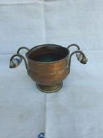 Antik Réz Porcelán Fogantyús Kaspó